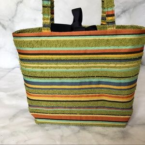 Handbags - NWOT retro striped purse bag tote green